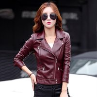 motorcycle designs 2018 - leather jacket women short design motorcycle leather jackets slim 2017 ladies black gray and red jackets 6602