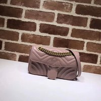Wholesale Women Checked Dress - Fashion Marmont Bags Women Handbag Bag Shoulder Bags Lady Small Golder Chains Totes Handbags Bags nude pink with box