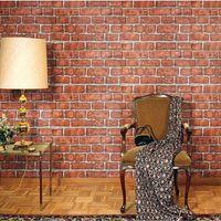 Wholesale Red Wallpaper Rolls - red brick self adhesive wallpaper for bathroom papel de parede adesivo