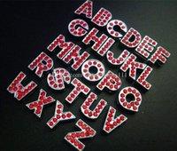 letras rojas de diapositivas de diamantes de imitación al por mayor-Nuevo estilo 520 unids 8 mm completo rojo Rhinestone letras de diapositivas Fit 8 mm collares de perro mascota pulsera DIY accesorios