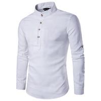 camisa de cuello mandarín para hombre al por mayor-Camisa casual de hombre Collar mandarín Color puro Transpirable Cómodo algodón Lino Otoño Camisetas de manga larga