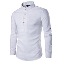 mandalina gömlek erkek toptan satış-Erkekler Rahat Gömlek Mandarin Yaka Saf Renk Nefes Rahat Pamuk Keten Sonbahar Uzun Kollu Gömlek