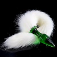 ingrosso stimolatore anus-Bianco finto coda di volpe di vetro spina anale giocattoli del sesso per la donna adulto masturbatore g-spot ano stimolatore di vetro butt plug coda plug-in Y18110504