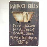 Wholesale shop bathroom decor resale online - New Design Bathroom Rules Vintage Rustic Home Decor Bar Pub Hotel Restaurant Coffee Shop home Decorative Metal Retro Tin Sign