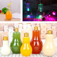 Wholesale water proof led lighting - Summer Glow LED Bulb Water Bottle Cute Girl Fashion Milk Juice Light Bulbs Water Glass Leak-proof Cup With Lid GGA388 50PCS