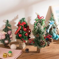 розовые настольные украшения оптовых-Multi конструкции рождественские украшения мини Рождественская елка украшения стола орнамент подарок