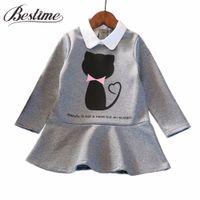 çocuklar için giyim giysileri toptan satış-Yeni Sonbahar Çocuklar Kızlar için Elbiseler Pamuk Uzun Kollu Kız Elbise Karikatür Kedi Çocuk Elbise Moda Kız Giyim Güz 2017