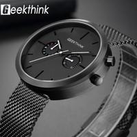 modern erkekler seyretmek toptan satış-Lüks Üst Marka Kuvars Saatler erkek Tam paslanmaz çelik Siyah Bilek İzle Casual Relogio Masculino Modern Homme Yeni