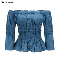 Wholesale jeans blouses women - 2018 Summer Women Off Shoulder Blouse Vintage Ruffles Blouses Sexy slash neck Jeans Denim Blue Shirts Female Casual Blusas Tops