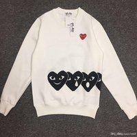 Wholesale round peach - Japanese tide brand Peach Heart men and women models round neck hedging long sleeve plus velvet sweater black heart love lovers