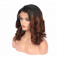 Wholesale women discount caps online - Discount beyonce women aaa unprocessed remy virgin human hair medium brown ombre color big curly full lace cap wig