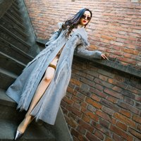 Wholesale fox fur coat xl - New design fashion women's v-neck long sleeve grey color faux fox fur patchwork wool woolen maxi long abrigos coat casacos XXL