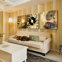 чёрные белые картины любовь оптовых-Украшения дома гостиная стены картина холст Живопись печать cuadros картины маслом 3 шт. цветок ретро музыка запись громкоговоритель