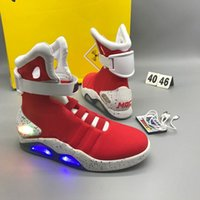 Wholesale Led 18 W - Air Mag Mens Back To The Future Lighting Mags Mens Basketball Shoes With LED Lights High Top Sneakers Black Grey Red Running Boots 18