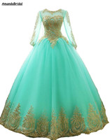 Amandabridal Long Sleeve Lace Prom Dresses 2021 New Long Ball Gown Quinceanera Dresses Tulle Formal Gown Plus Size