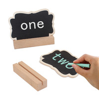 Wholesale chalkboard place holder - Wood Crafts Mini Floral Blackboard with Wood Easel Seating Place Card Holder Chalkboard Cake Label Party Table Decoration