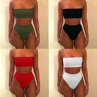 ingrosso alte vita nuota più il formato-Rivoluchiang 2017 Solido Sexy Vita Alta Bikini Bandeau Plus Size Costumi da bagno Biquinis Feminino Costume da bagno Beach Wear Spiaggia