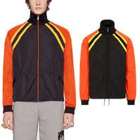 black nylon windbreaker 도매-Colorblock 윈드 자켓 나일론 경량 블랙 / 오렌지 슬림핏 일 보호 착용 인쇄 된 편지에 돌아 가기
