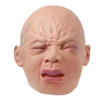 tam oda toptan satış-2018 Yeni Gerçekçi Ağlayan Bebek Maskesi Tam Kafa Ağlayan Yüz Peruk Cadılar Bayramı Bar Odası Perili Ev Korku Maske Festivali Bar Kaynağı