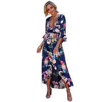 Wholesale vestidos de fiesta for sale - Women Dress Floral Print Sexy Deep V Neck Flare Sleeves High Split Belt Bohemian Maxi Dresses Summer Female vestidos de fiesta