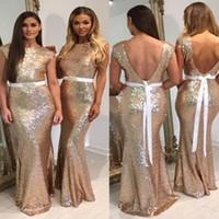 uzun resmi gül nedime elbiseleri toptan satış-Yeni Glitter Gül Altın Sequins Nedime Elbiseler ile Kemer Cap Kollu Mermaid Örgün Balo Elbise Uzun Nedime Törenlerinde Custom Made