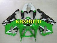 motosiklet fuarları zx7r toptan satış-KAWASAKI Ninja için motosiklet Fairing kiti ZX-7R ZX7R 1996 2003 ZX 7R 96 97 02 03 Yeşil beyaz Motosiklet Fairings seti + hediyeler