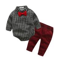 Wholesale 12 month boy jeans - 2018 Baby Boy Clothes Newborn Clothing Sets Broadcloth Cotton Gentleman Fashion Plaid Rompers Jeans 2Pcs set Infant Clothing