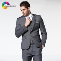 темно-серый жених смокинг оптовых-Augustonline Dark Gray Business Men Suits Wedding Groom Wear Tuxedos 3 Pieces (Jacket+Pants+Vest) Bridegroom Suits Prom Blazer