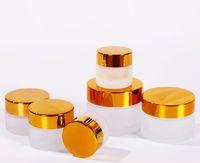 Wholesale gold cream jars online - glass cream jar g g g g g cosmetics bulk emulsion cream bottle transparent frost glass jar for skin care with gold lid good