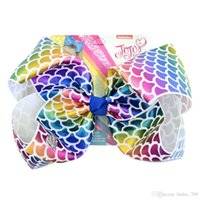 Wholesale hair accessory cards wholesale - JOJO SIWA 8 inch LARGE Rainbow Signature HAIR BOW with card and sequin logo baby girl Children Hair Accessories fashion hair clip