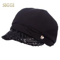 payet berber şapkaları toptan satış-SIGGI Bahar Kadınlar Newsboy Şapka Bereliler Pullu Vizör Kapağı Dekorasyon Ön Ağız Ayarlanabilir Vogue Casual Kadın 89011