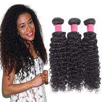insan saçı renk uzantıları toptan satış-8A Malezya Bakire Sapıkça Kıvırcık 3 Paketler İnsan Saç Dalga uzatma Siyah Kadınlar Için Doğal Renk 10-28 Inç Çift Atkı Saç Demeti Makinesi