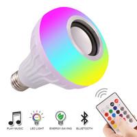 musique sans fil bluetooth audio achat en gros de-E27 Smart LED Lumière RGB Sans fil Bluetooth Haut-parleurs Ampoule Lampe Musique Jouer Dimmable 12 W Lecteur de Musique Audio avec 24 Touches Télécommande