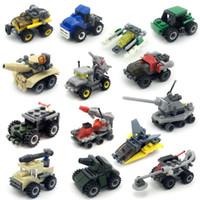inşa edilmiş model arabalar toptan satış-Blok model araba Açık akıllı Tank aydınlanma bulmaca küçük parçacık plastik montaj küçük yapı taşları anaokulu çocuk oyuncakları hediye lepin