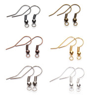 Wholesale diy ball earrings - 200Pcs lot 7 Color Ball & Coil Earring Hooks Fish Hooks Ear Wire for DIY Jewelry Making Free Shipping G373S