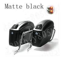 soportes yamaha al por mayor-Negro mate Hard Tail Saddlebag tronco bolsa de equipaje tren ligero soporte para Yamaha Bobber personalizada