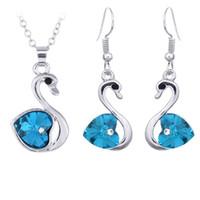 Wholesale Necklace Set Sparkle Swarovski Crystal Element Swan Shaped Wedding Jewelry Set Fashion women luxury jewelry Earrings Set