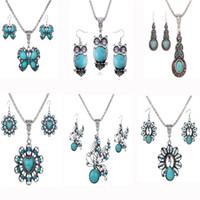этническая бирюза оптовых-Микс дизайн этнические старинные серебряные животных кулон ожерелье серьги для женщин ретро мода бирюзовый ювелирные наборы SF