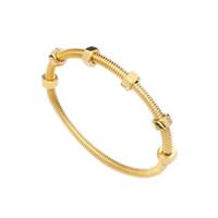ingrosso colore dell'oro dei monili-intera venditaJSBAO donne stile di moda in acciaio inox colore oro con dadi può muoversi vite braccialetto del polsino braccialetto per le donne gioielli di moda