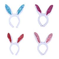 accesorios conejos al por mayor-Halloween LED luz luminoso parpadeante lentejuelas tocado orejas de conejo vendas del pelo headwear para mujeres Rabbit Girl Props