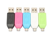 Wholesale tablet tf android resale online - 2 in USB Male To Micro USB Dual Slot OTG Adapter With TF SD Memory Card Reader For Android Smartphone Tablet Samsung