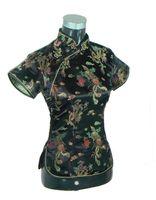 mujeres de seda qipao al por mayor-Historia de Shanghai Chino Cheongsam Top de seda tradicional de las mujeres / satén Top China Dragón y Phoenix de la blusa Qipao Shir Tops para mujeres