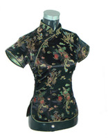 Wholesale black traditional kimono resale online - Shanghai Story Chinese Cheongsam Top Traditional Women s Faux Silk Satin Top China Dragon And Phoenix Blouse Qipao Shir Tops For Women