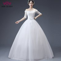 Wholesale Cheap Floral Sashes - ISER QUEEN Boat NecK Hand Made Flower Lace Country Wedding Dress Half Sleeve White Color Plus Size Chinese Cheap Wedding Gown WX0077