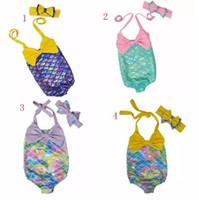 Wholesale mermaid swimsuit online - Children Mermaid Swimwear Bow headband bow swimwear set cartoon Mermaid Bikini Kids One piece Swimsuit colors B11