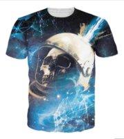 cascos de orden al por mayor-Skull Fracture Camiseta Astronaut Helmet Getting Struck Meteor 3d Print Camisetas casuales Galaxy Tops Camiseta para mujeres Hombre 1 Orden U464
