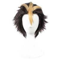 ingrosso parrucche da uomo anime-Parrucche Cosplay da uomo Anime Costume corto nero giallo