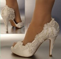 fildişi saten düğün topuklu toptan satış-Yeni El Yapımı Wonen Moda fildişi Düğün ayakkabı Parti ayakkabı Açık ayak topuk bale dantel saten elmas Gelin Gelinlik ayakkabı boyutu 35-42