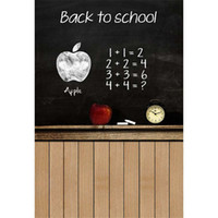 Wholesale Digital Background Floors - Back to School Themed Backdrop for Photography Digital Printed Drawing on Blackboard Children Baby Kids Photo Shoot Backgrounds Wood Floor