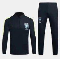 Wholesale Half Tights - Brazil tracksuit 16 17 training suits Uniforms shirts Chandal NEYMAR JR tracksuits Survetement long sleeve tight pants With half zipper